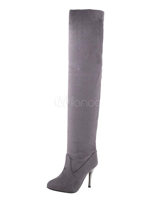 Sobre las botas de rodilla gris dedo del pie puntiagudo franela muslo botas altas 4lj3aEb