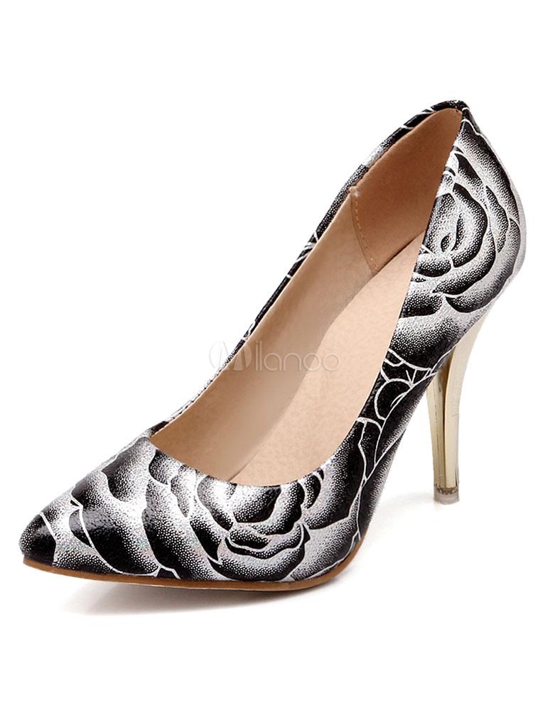 Imprimir dos tonos PU señaló Toe zapatos de tacón alto para las mujeres KzDcH0nP