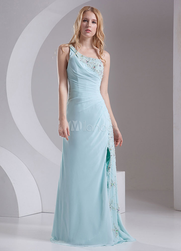 One Shoulder Bridesmaid Dress Mint Green Ruched Straps Split Party Dress