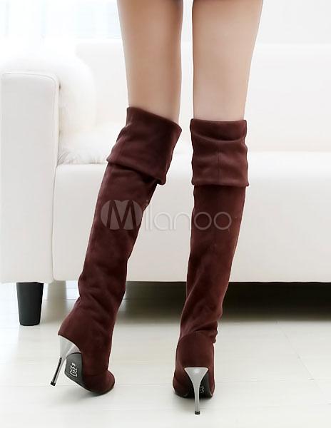 Sobre las botas de rodilla gris dedo del pie puntiagudo franela muslo botas altas Yq5InStY9