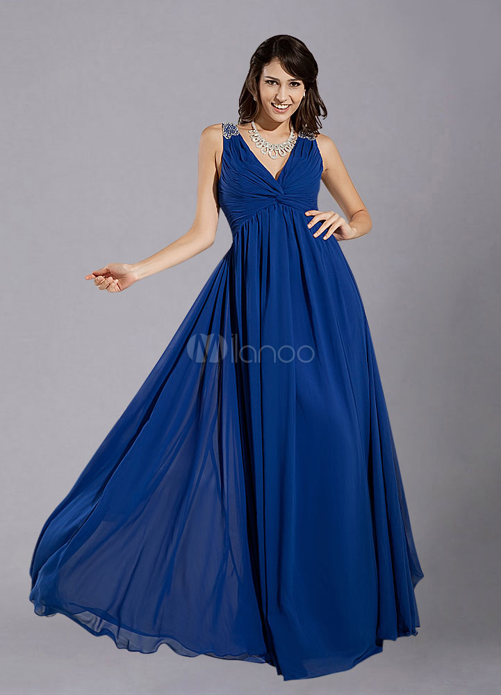 Royal Blue Straps Ruched Chiffon Bridesmaid Dress