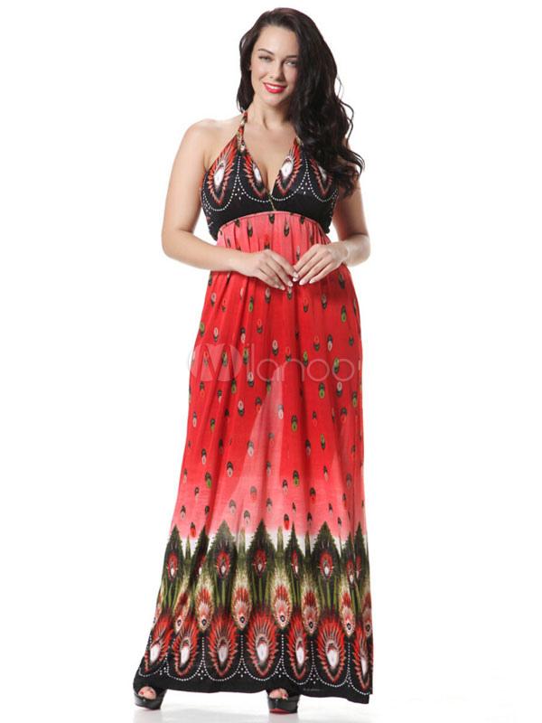 Buy Plus Size Dress Print Deep-V Milk Silk Maxi Dress For Women for $25.49 in Milanoo store