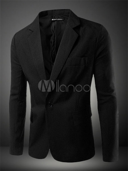 Men Blazer Casual 2018 Blazer For Men Single Button Notch Collar Long Sleeve Suit Jacket