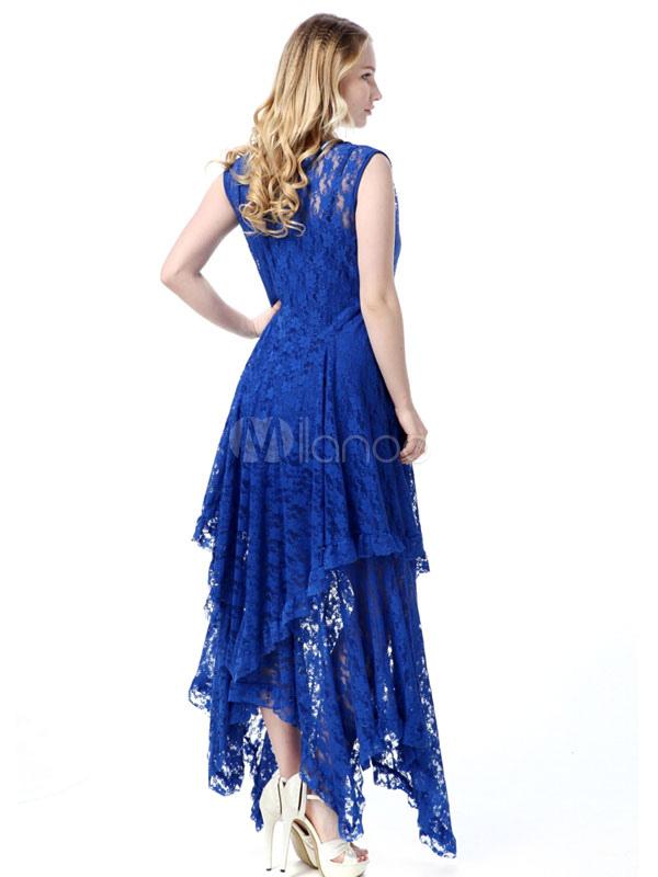 Plus Size Kleid schwarzen Rüschen Spitze Maxi Kleid für Frauen ...