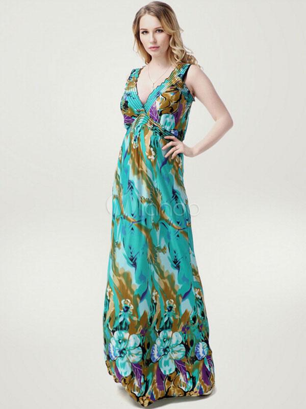 Buy Plus Size Dress Print Deep-V Milk Silk Maxi Dress For Women for $27.19 in Milanoo store