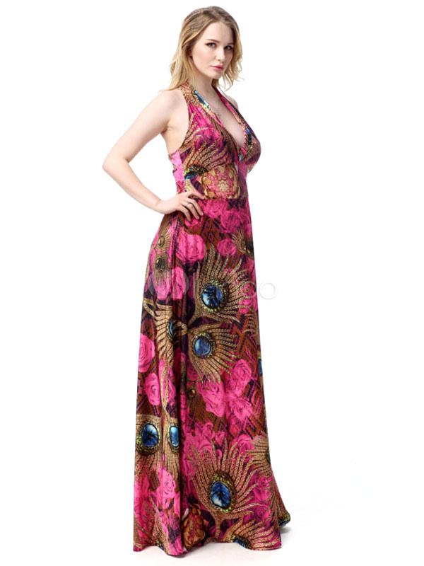 robe d t halter plage imprim deep v plus taille maxi