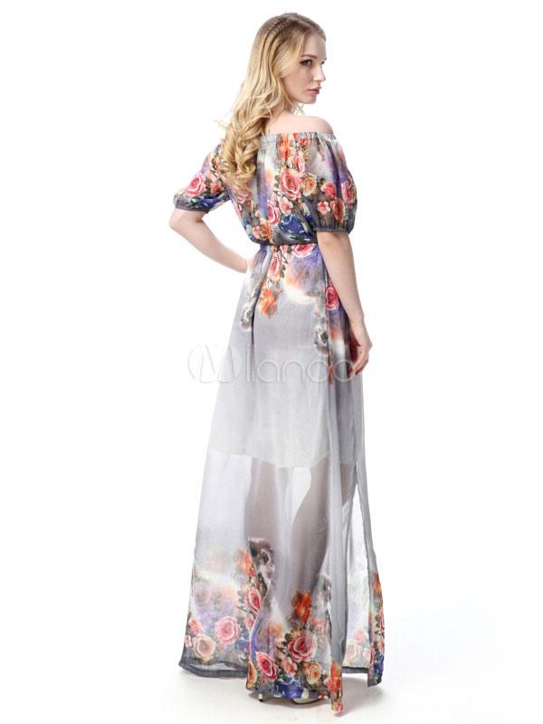 f3189ab01655f ... Off-the-Shoulder Long Dress Short Sleeve Plus Size Floral Print Chiffon  Maxi Dress ...