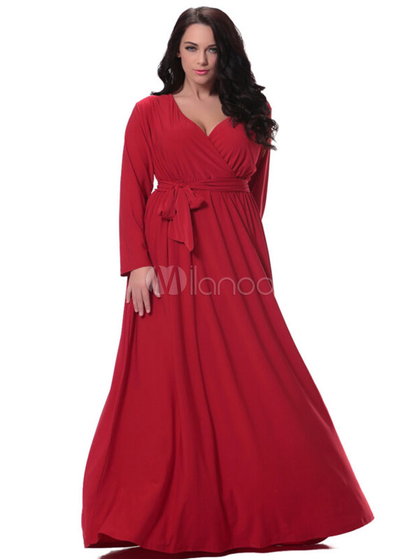 Plus Size Dress Red Sash Deep-V Ruched Cotton Flax Maxi Dress For Women Cheap clothes, free shipping worldwide
