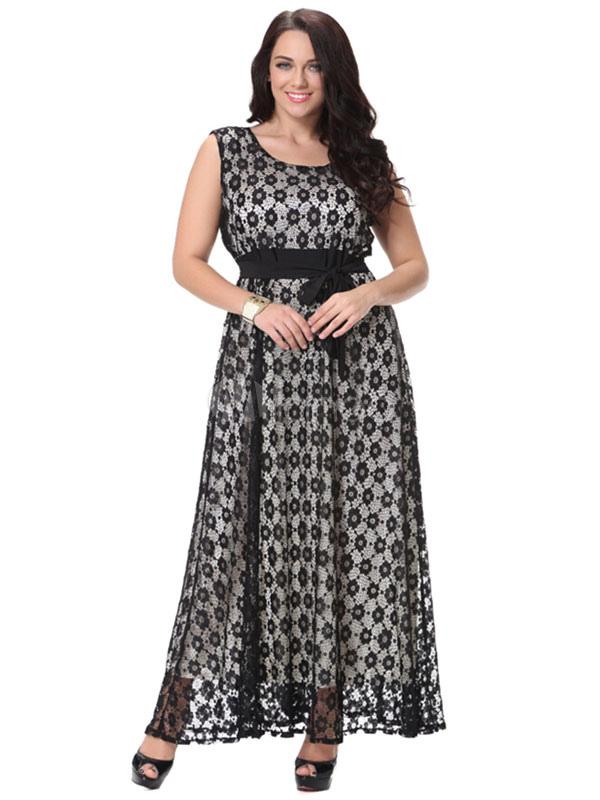 Plus Size Dress Print Sash Lace Maxi Dress For Women Cheap clothes, free shipping worldwide