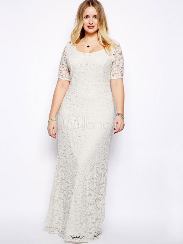 Plus Size DressWhite Lace Stylish Maxi Dress For Women Cheap clothes, free shipping worldwide