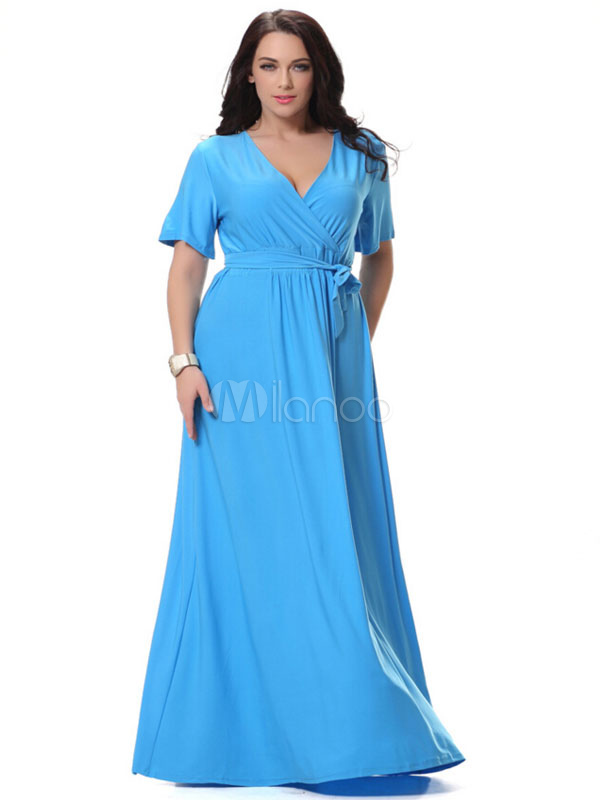 Buy Plus Size Dress Blue Sash Ruched Polyester Maxi Dress For Women for $53.99 in Milanoo store