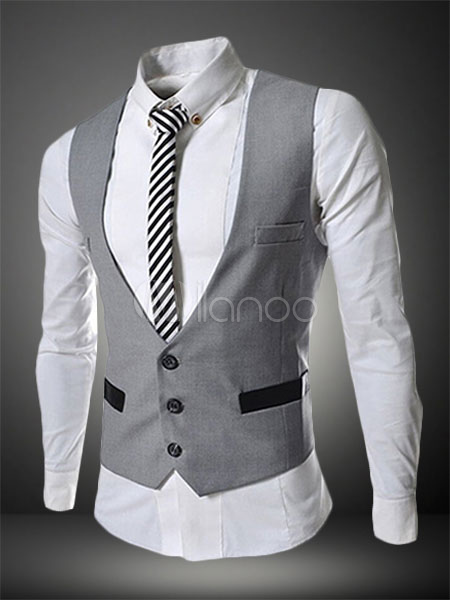 Buy Men Suit Vest 2018 Single Breasted Button Two Tone Shaping Light Grey Cotton Waistcoat for $25.64 in Milanoo store