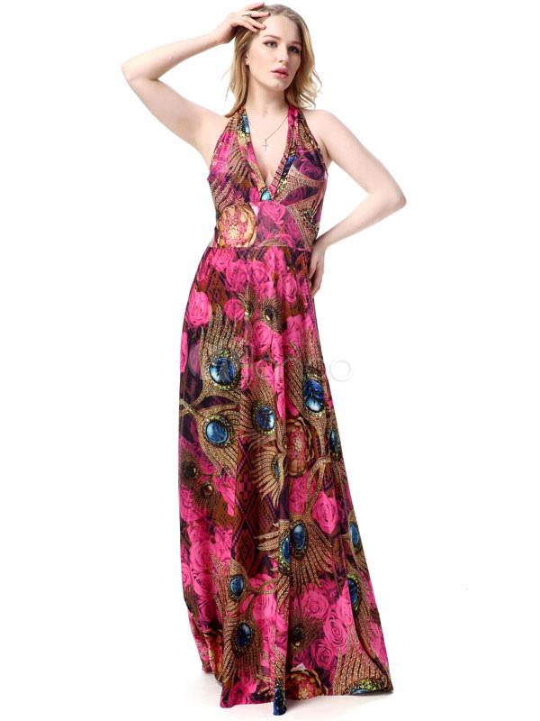 Halter Beach Summer Dress Printed Deep-V Plus Size Maxi Dress For Women