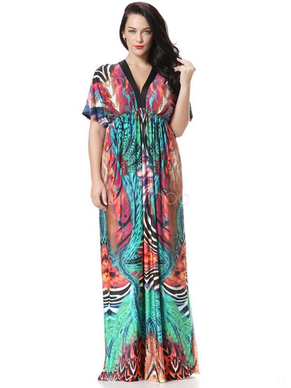 Buy Plus Size Dress Print Deep-V Ruffles Maxi Dress For Women for $25.49 in Milanoo store