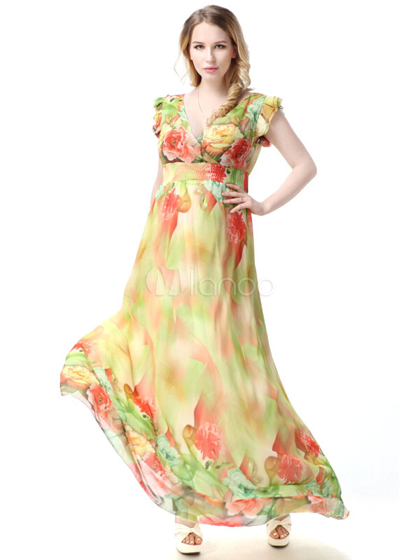 Buy Multicolor Print Deep-V Polyester Maxi Dress for Women for $44.99 in Milanoo store