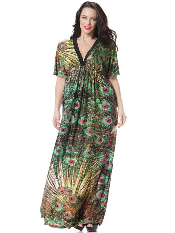 Buy Plus Size Dress Print Deep-V Ruffles Chic Maxi Dress For Women for $27.19 in Milanoo store