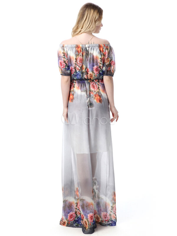 437c1ac3b0717 ... Off-the-Shoulder Long Dress Short Sleeve Plus Size Floral Print Chiffon  Maxi Dress