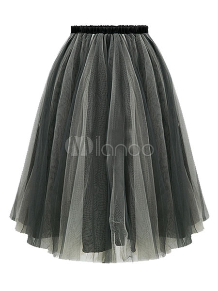 Deep Gray Ruffles Organza Skirt for Women Cheap clothes, free shipping worldwide