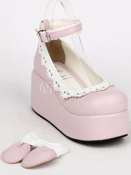 Rosa arcos PU Lolita zapatos para mujeres 6MHqCx7fZ