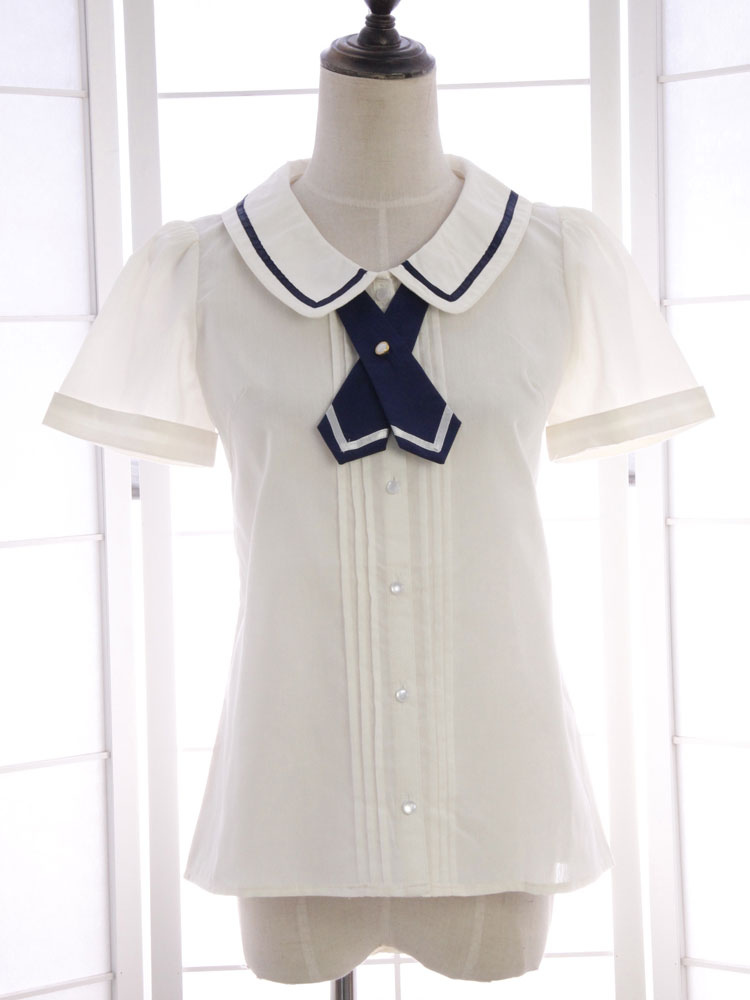 White Bow Tie Ruched Cotton Lolita Shirt for Women