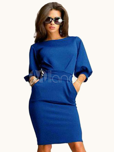 Blue Sash Shaping Polyester Bodycon Dress for Women