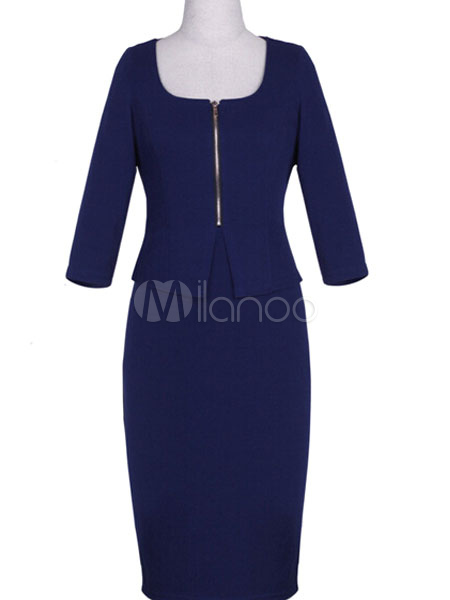 Buy Deep Blue Shaping Polyester Bodycon Dress for Women for $31.44 in Milanoo store