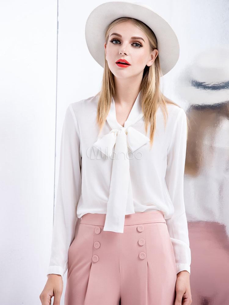 Buy White Bow Silk Blouse for Women for $62.99 in Milanoo store