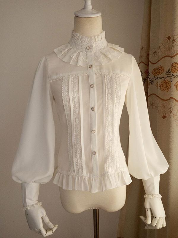 White Chiffon Lolita Blouse Long Gigot Sleeves Ruffles Stand Collar