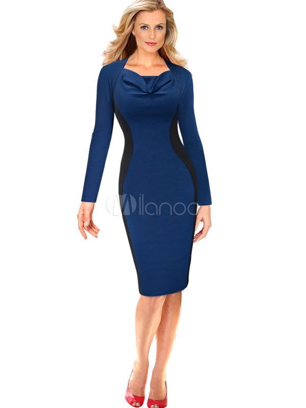 Two-Toned Ruffles Polyester Bodycon Dress for Women