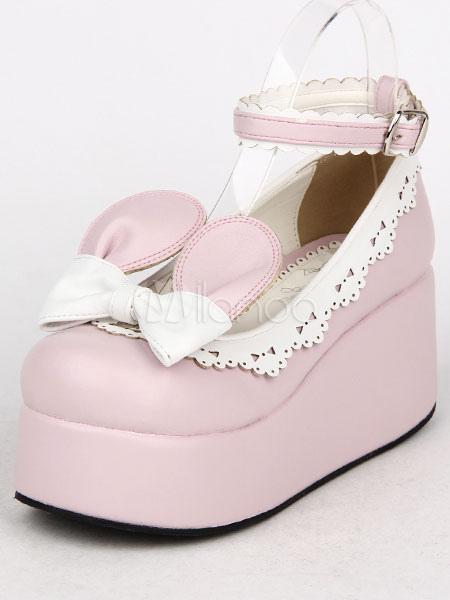 Rosa arcos PU Lolita zapatos para mujeres XQbwSk