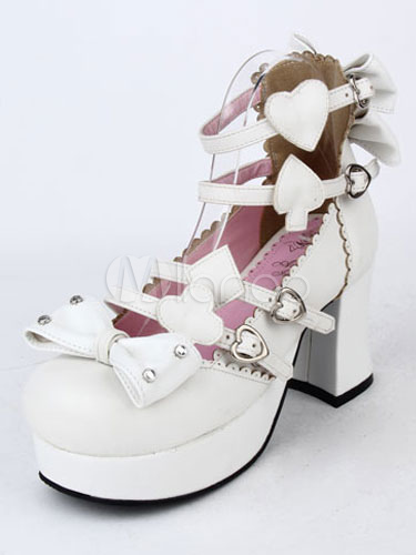 White Bows Rivets Platform PU Lolita Heels for Women