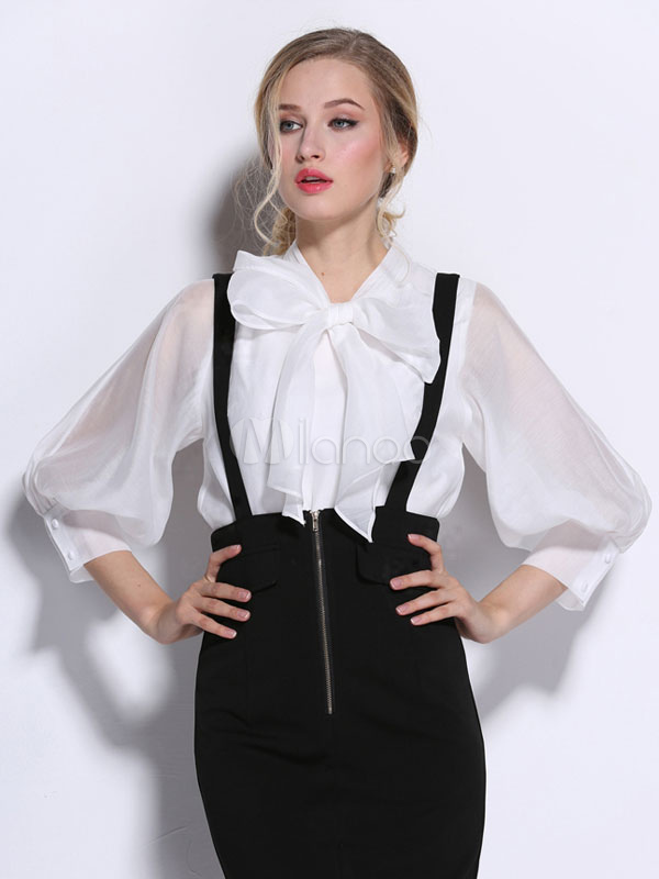 Buy White Bows Puffed Sleeve Silk Blouse for Women for $35.99 in Milanoo store