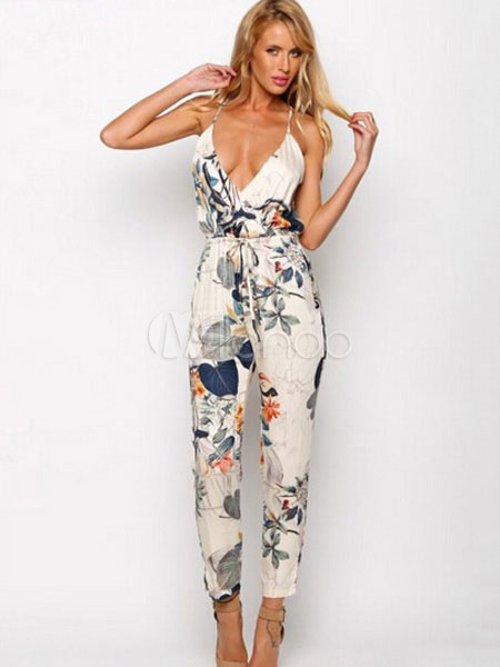 Multicolor Print Low-Cut Chiffon Jumpsuit for Women Cheap clothes, free shipping worldwide