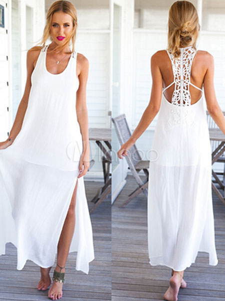 White Lace Straps Split Summer Dress for Women Cheap clothes, free shipping worldwide