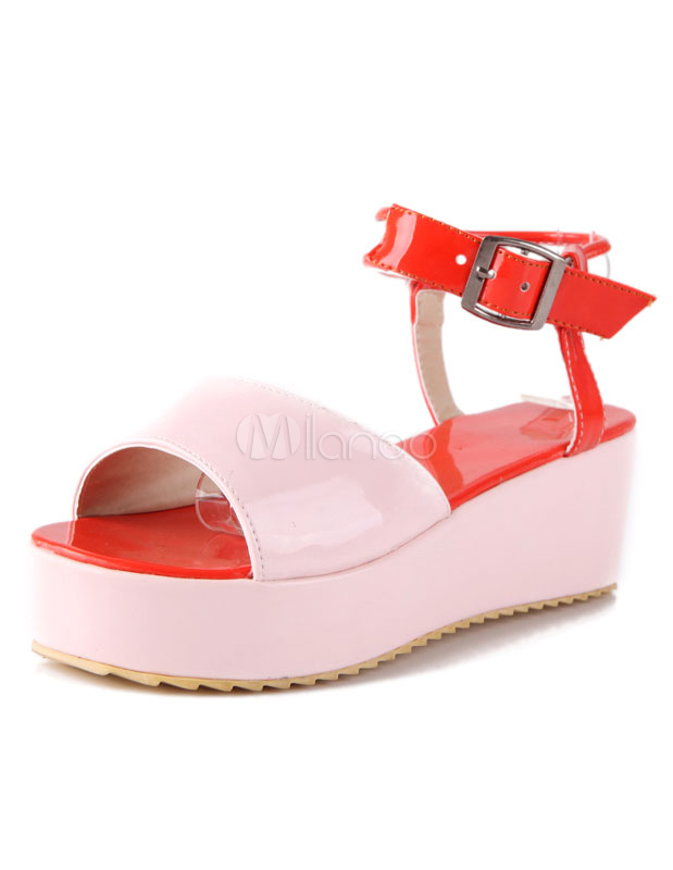 Two-Toned Chic Buckle Patent PU Sandals for Women