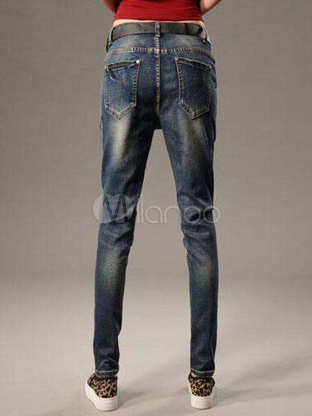 tiefblaue zahlen drucken gerade baumwolle zerrissene jeans. Black Bedroom Furniture Sets. Home Design Ideas