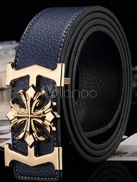 Milanoo / Black Chic Metallic Leather Belt for Men