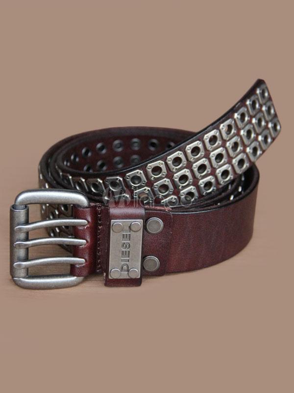 Brown Metal Rivets Leather Belt for Men