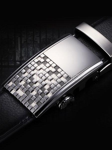 Milanoo / Black Embossed Checkered Leather Belt for Men