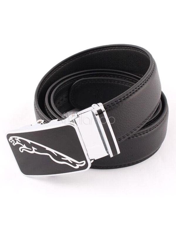 Milanoo / Black Print Embossed Leather Belt for Men
