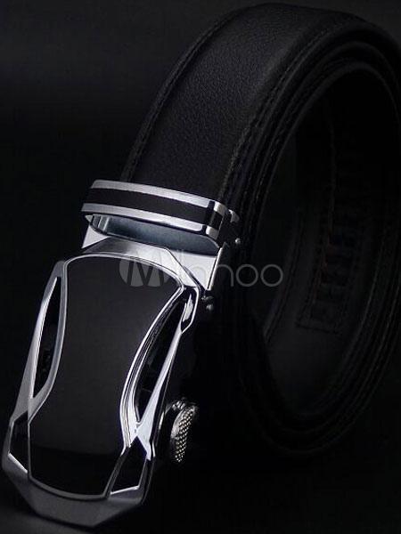 Milanoo / Black Embossed Metallic Leather Belt for Men