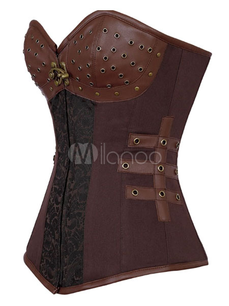 Brown Print Studded Sexy Polyester Corset for Women