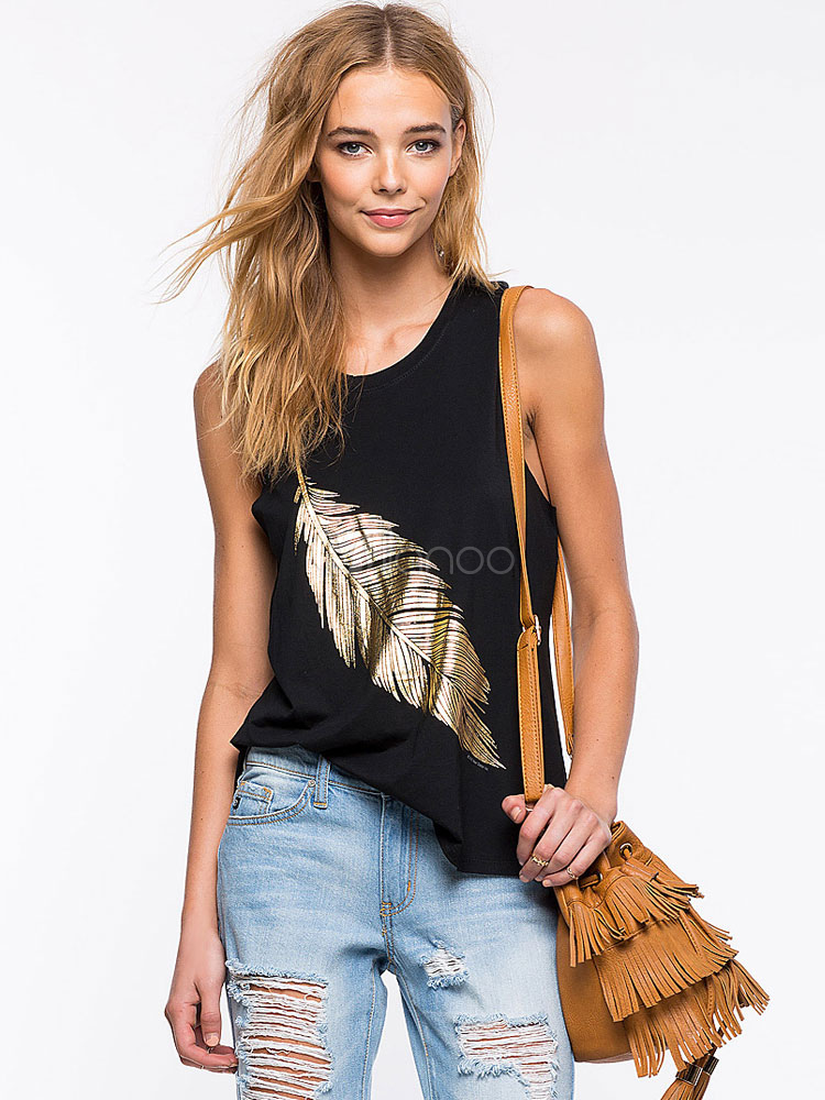 Black Leaf Print Cotton Camisole for Women Cheap clothes, free shipping worldwide