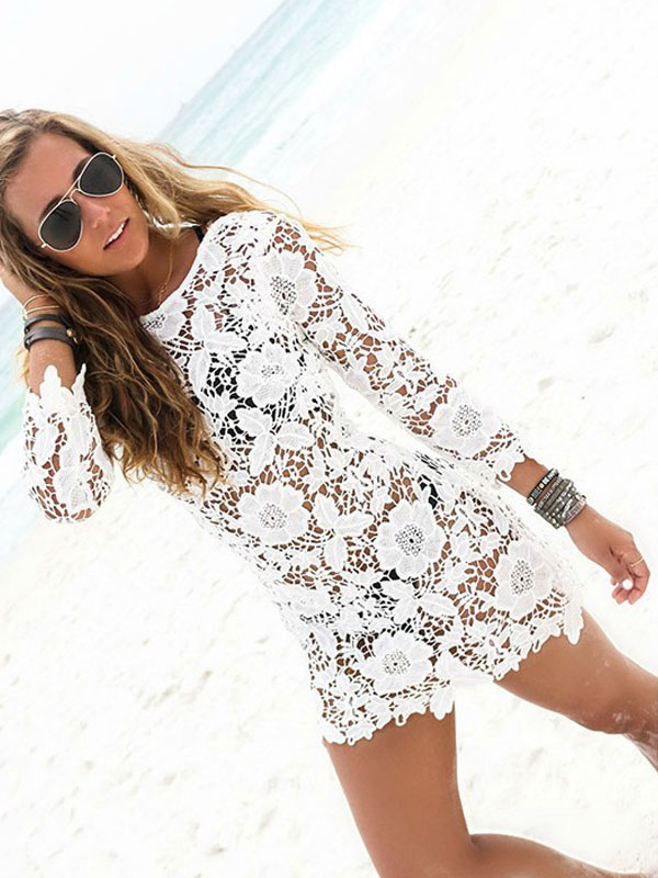 a4b6dc1f746 Lace Beach Cover Up White Sheer Long Sleeve Sexy Bathing Suit For Women-No.