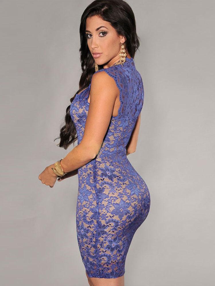 9b45a1872eb3 Sexy Club Dress 2019 Black Lace Semi Sheer Bodycon Dress - Milanoo.com