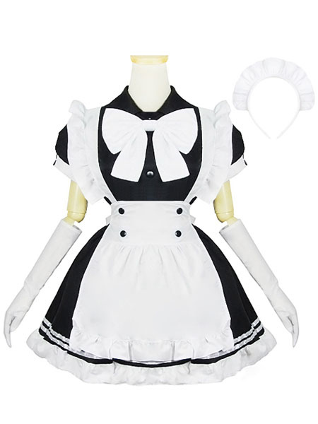 Color Block Ruffles Bows Cotton Maid Costume for Women Halloween