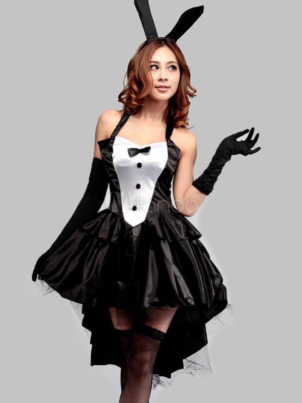 Buy Halloween Black Bows Backless Polyester Sexy Bunny Costume for Women Halloween for $22.99 in Milanoo store