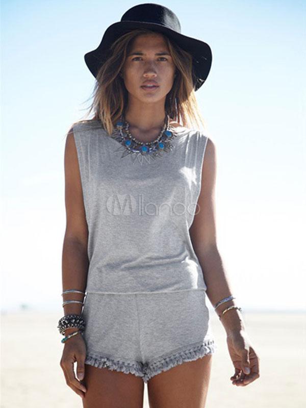 Gray Backless Cotton Blend Romper for Women