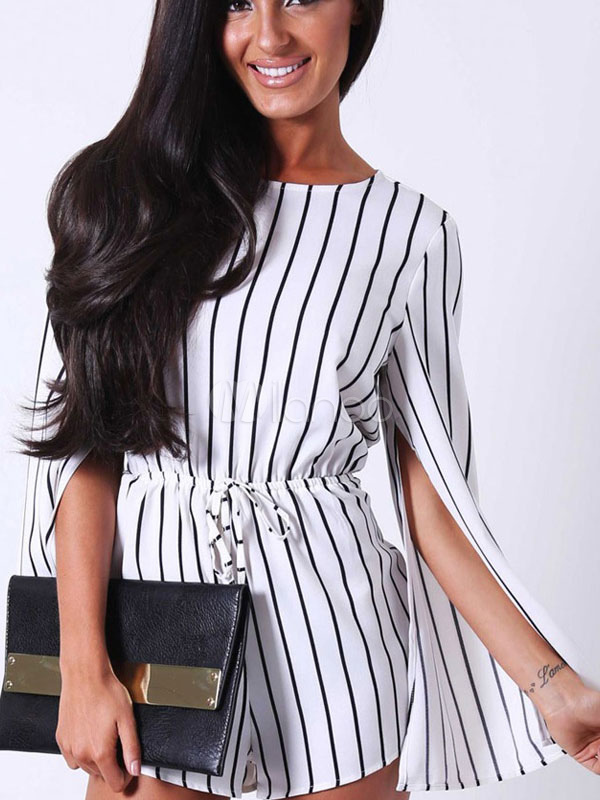 Buy White Cut Out Stripes Cotton Blend Romper for Women for $22.94 in Milanoo store