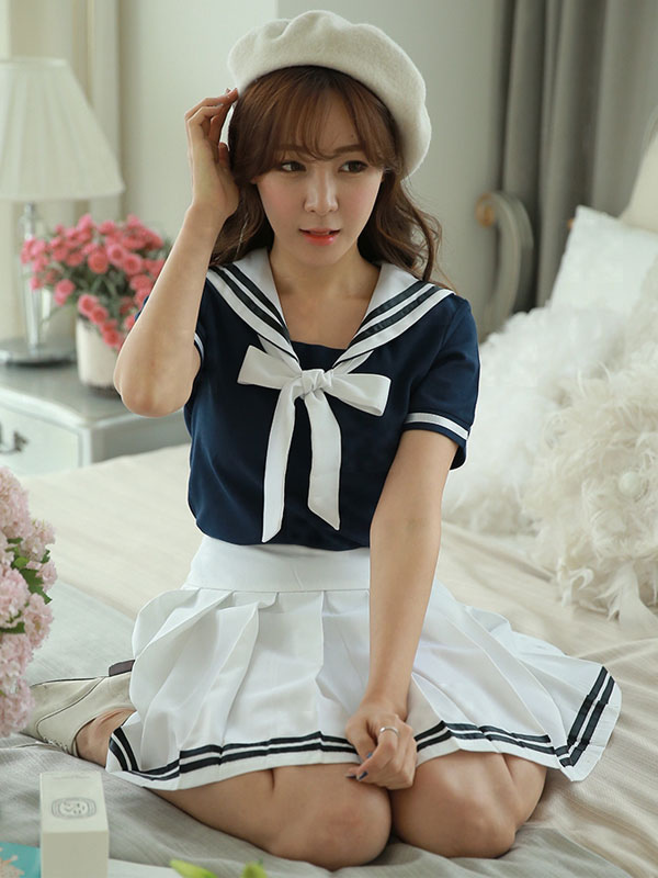 Two-Tone Bow Chic School Cloth Uniform Costume  Halloween